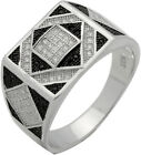 Men's 1CT Black & White Micro Pave Cz Sterling Silver Ring Size 8 9 10 11 12 13