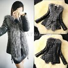 Free Shipping Womens Faux Raccoon Fur Collar Slim Jacket Outerwear Clothes GBW