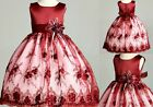 Burgundy Floral Lace Christmas Holiday Fall Wedding Flower Girl Dress Gown 11