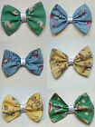 VINTAGE 50s CHILDRENS CAT TOYS MOUSE COTTON COWBOY FABRIC HANDMADE HAIR BOW e66