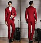 Casual Red 2015 Groom Tuxedos Business Cheap Groomsman Best Man Suit Formal Gown