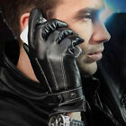Winter Warm Chic Luxury Mens Faux Leather Cashmere Lining Motor Cycling Gloves Q