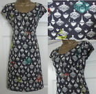 "NEW EX MISTRAL ""SPINNING TOP"" TEA SUN SUMMER DRESS TUNIC DARK GREY WHITE SZ 8-18"