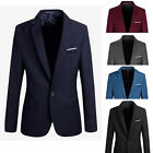 Stylish Fashion Mens Slim Fit Formal One Button Casual Suit Coat Jacket Blazer