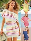 VICTORIA Off-The-Shoulder Sexy Ruched Tee Striped Dress Hot Tunic sz XS S M L XL