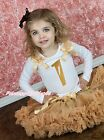 Gold Birthday 1ST 2ND 3RD 4TH White Top Goldenrod khaki Baby Girl Skirt Set 1-8Y