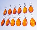RED ORANGE BEADS CHANDELIER GLASS CRYSTALS DROPS ANTIQUE COLOUR PRISMS DROPLETS