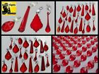 RED BEADS CHANDELIER GLASS CRYSTALS DROPS ANTIQUE PRISMS DROPLETS SPARE PARTS