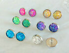 12mm Sparkly Round Resin Druzy Earrings Studs Jewellery Silver Plated