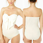Wildbirds Women's White Sweetheart Neckline Bodysuit Top with Pussybow