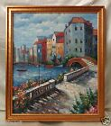 "Canvas Oil Painting ""Bright Day in Venice"" w. Gold Finish Antique Style Frame"
