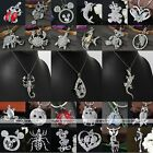 Womens Aniamal Silver Plated Crystal Pendant Charms Bead For Chain Necklace DIY
