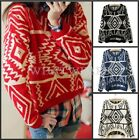 Fashion Womens Geometric Printed Knit Sweater Pullover 4 Colors FOZ