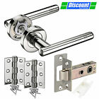 Contemporary Door Handle Set with T-Bar Lever Handles on Rose, Hinges & Latch