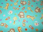 Baby Monkeys Quilting Fabric Flowers Pink Blue Sewing Fat Quarter, By the Yard