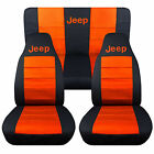 1976-2015 Jeep Wrangler Two Tone Seat Covers Canvas Front and Rear Choose color