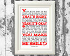 Song Lyric Poster Uncle Kracker Smile Lyric Music Art Typography Print