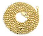 """22-26"""" 2mm 10k Yellow Real Gold Combat Bead Ball Cut Chain Necklace Mens Ladies"""