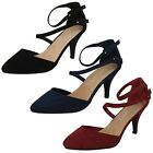 Spot On Ladies Mid Heel Strappy Shoes