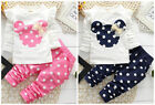 New cotton 2pcs baby Girls tops+pants Outfits & set spring clothes Polka Dot