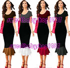 Womens Wear to Work Celebrity Contrast Casual Party Pencil Midi Skirt S-4XL