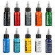 RADIANT COLORS 10 Color Tattoo Ink Set 1oz Bottles Kit Pigment MADE IN USA cheap