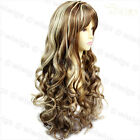 Sexy Long Wavy Wig Brown mix Blonde Curly Ladies Wigs Skin Top from WIWIGS UK
