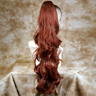 Long Fox Red Ponytail hairpiece Extension Jaw/Claw Clip in on Wavy Hair Piece UK
