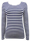 M&S NEW WHITE NAVY STRIPED HEATGEN THERMAL T SHIRT WINTER SKI TOP 8-24 RRP £15