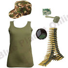 LADIES KHAKI ARMY VEST TOP CAP DOG TAGS PAINT & BULLET BELT FANCY DRESS MILITARY
