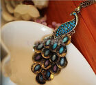 FO0A Bronze Style Peacock Blue&Green Crystal Chain Pendant Charm Necklace UK0A