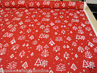 PRESTIGIOUS TEXTILES CHRISTMAS TREES RED FABRIC CUSHIONS CRAFTS NOVELTY