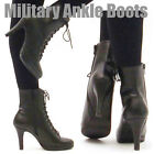Womens Military Ankle Boots High Heel Lace Ups Handmade Shoes CU156 Black