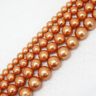 8-14mm Beautiful Champaign Gold Shell Pearl Round Loose Beads 15""