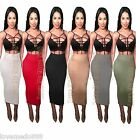 Womens Party Club Casual Tight Slim Fit Pencil Tube Basic Maxi Midi Skirt Dress