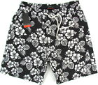 "PIERRE CARDIN ""Swimwear Hawaii"" mens surf board shorts swim trunks (black) NEW"