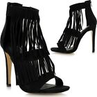 Ladies Stiletto High Heel Fringe Ankle Strap Peep Toe Barely There Sandals Shoes