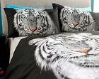 White Tiger Duvet Set Photo Print Quilt Cover Pillow Case Bed Linen Double New