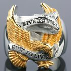 "Men Stainless Steel Eagle Hawk ""Live To Ride,Ride To Live"" Motorcycle Biker Ring"