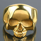 316L Men's Stainless Steel Golden Death Skull Head Polishing Carved Biker Rings