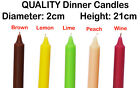 2 x Dinner Candles Solid Colours Non Drip Tall Quality Wedding Table 21cm H 2cm