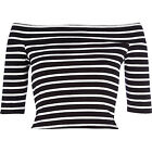 RIVER ISLAND NEW BLACK STRIPE JERSEY BARDOT OFF SHOULDER TOP RRP £18 SIZES 6-16