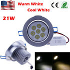 21W LED 7X3W Recessed Ceiling Light dimmable Downlight Spot Lamp Warm Cool White