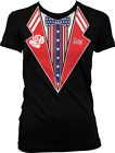 Patriotic Fake Tuxedo USA Flag America 4th of July Independence Juniors T-shirt