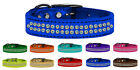 Two Row AB Jeweled Metallic Leather Dog Collars - 2 Row Aurora Borealis Crystals