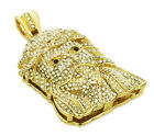 "Fully Iced Micropave 14K Gold/ White Gold Jesus Head charm w 36"" Franco Chain"