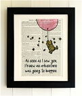 ART PRINT ON OLD ANTIQUE BOOK PAGE *FRAMED* Winnie the Pooh, Balloon, Bear, Bees