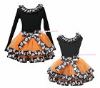 Plain Halloween Black Top Ghost Lacing Satin Trim Skirt Girl Outfit Set NB-8Year