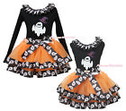 Halloween Black Top Hat White Ghost Lacing Satin Trim Skirt Girl Outfit NB-8Year
