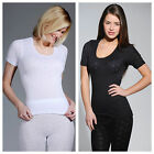 NEW WOMENS LADIES SOFT WARM WINTER SHORT SLEEVE THERMAL VEST TOP SPENCER SKIWEAR